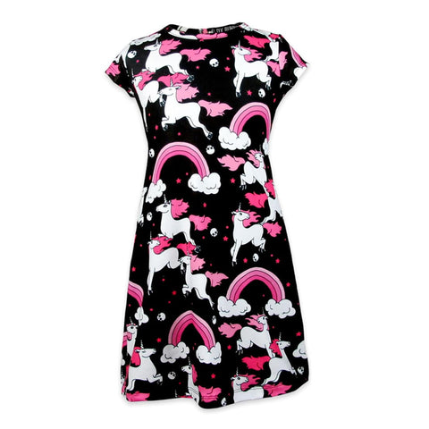 Six bunnies kids dress with unicorns. skulls and rainbows in black, pink and white. Front view