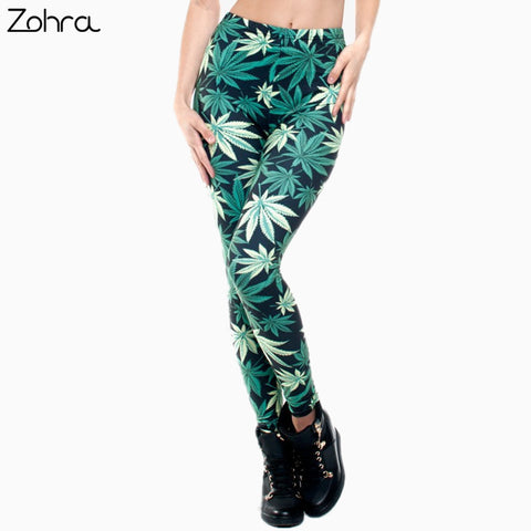 Weed Leggings Green/Pink/Black and White