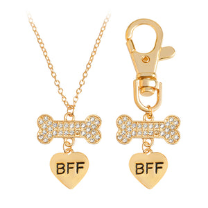 BFF Crystal Bone Heart Necklaces for Dog Parents