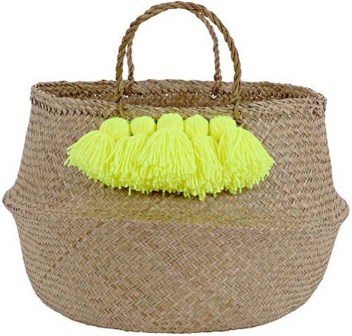 Neon Yellow Tassel Basket