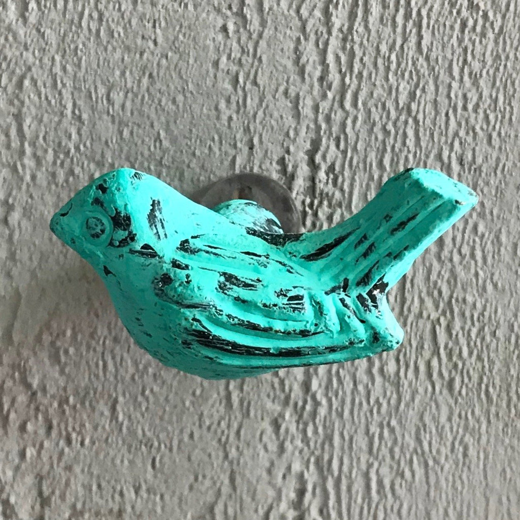 Sea Green Metal Bird Knob - K82