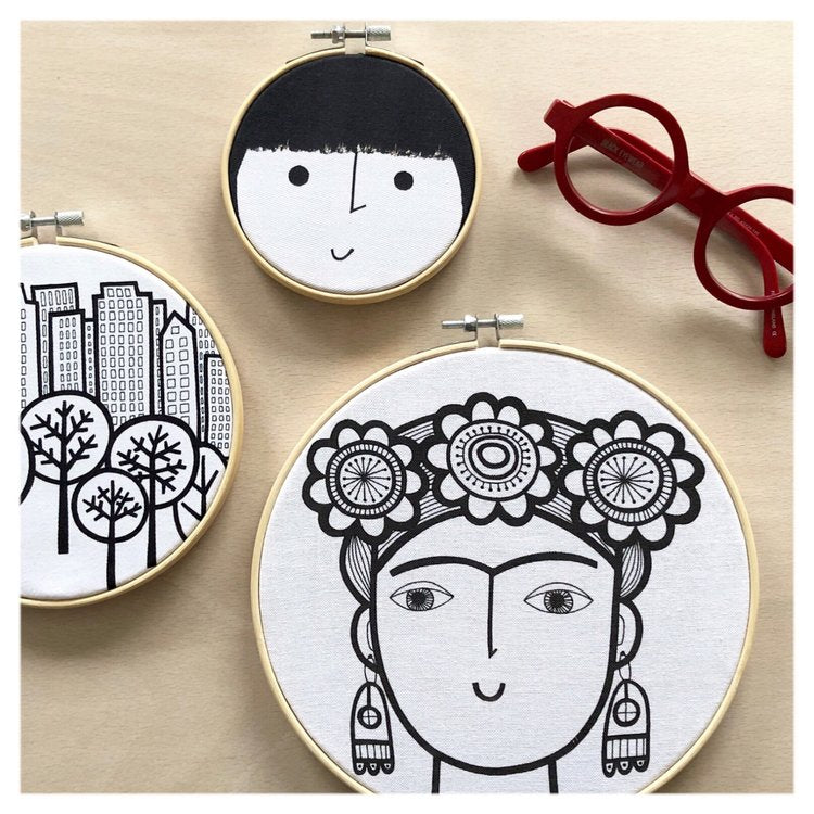 Frida Kahlo Hoop Art by Jane Foster