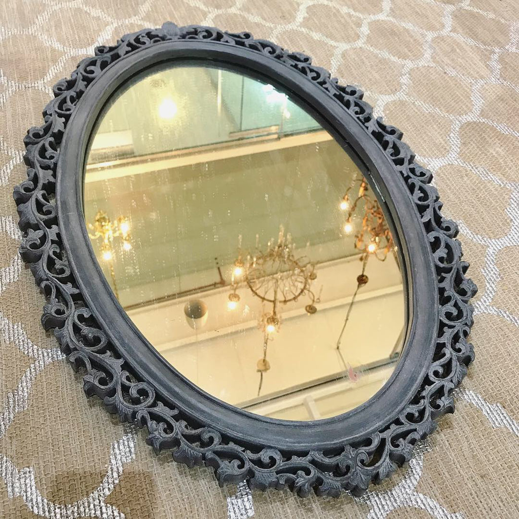 Black Oval Mirror With Vine Scrollwork - SOLD