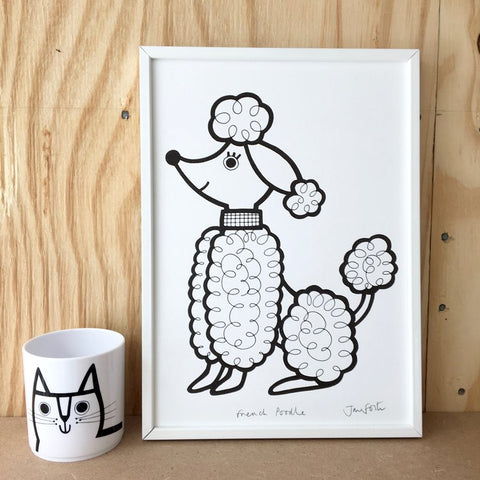 French Poodle A4 Print by Jane Foster