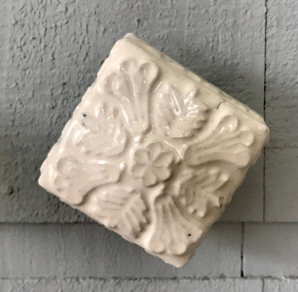 Off White Carved Square