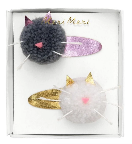 Cat Pompom - Hair Clips
