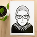 Ruth Bader Ginsburg Print by Jane Foster in A4 & A3