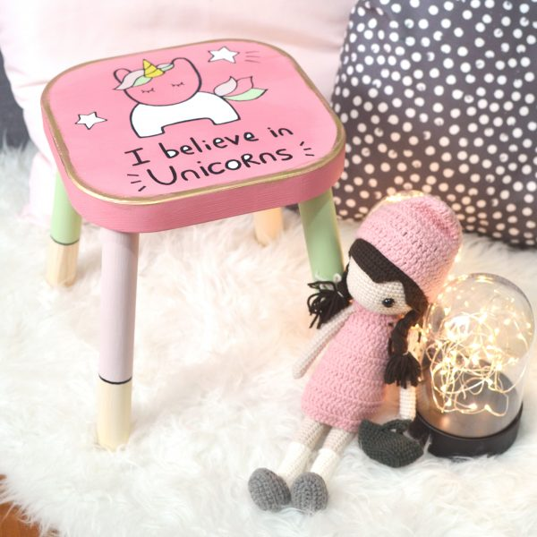 'I Believe in Unicorns' Wooden Stool