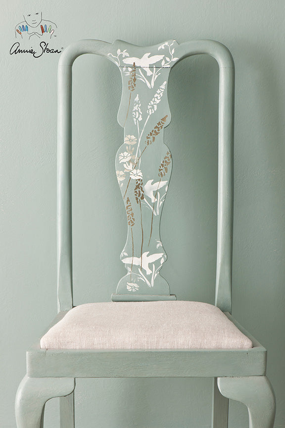 Stencilled Chair In Annie Sloan Chalk Paint Duck Egg Blue