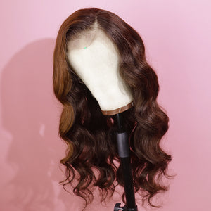 Preferred Human Brown Lace Front Wigs Body Wave Long Straight Remy Hair for Women