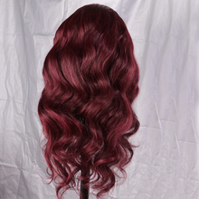 Load image into Gallery viewer, 99J Dark Red Human Hair Lace Front Wig with Baby Hair