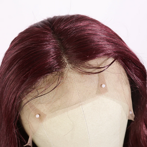 99J Dark Red Human Hair Lace Front Wig with Baby Hair