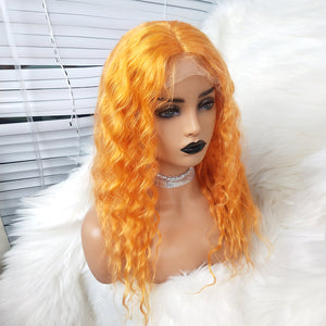 Preferred Human Hair Full Lace Wigs Orange Curly Lace Wigs for Women
