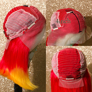 Red Ombre Yellow Bob Wig with Remy Human Hair and Lace Front