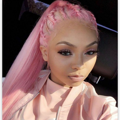 Preferred Human Hair Princess Pink Lace Front Wigs Long Straight Hair for Women