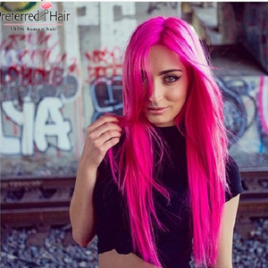 Brazilian Remy Human Hair Hot Pink Lace Wig with Pre-plucked Baby Hair