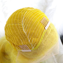 Load image into Gallery viewer, Straight Yellow Bob Wig of Human Hair with a Lace Front for Girls