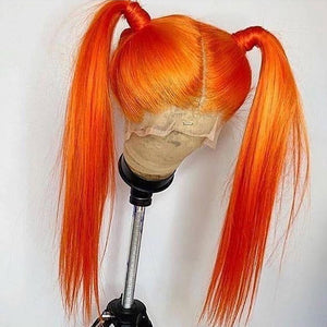 Long Orange Lace Front Wig of Human Hair for Women