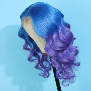 Preferred Human Blue Ombre Purple Lace Front Wigs Body Wave Long Remy Hair for Women