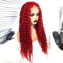 Load image into Gallery viewer, Preferred Hair Red Wig Drag Queen Wigs Lace Front Wig Brazilian Deep Curly Hair Remy Human Hair Full Lace Wigs for Women