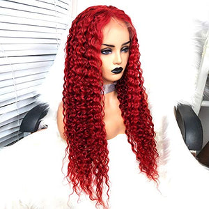 Preferred Hair Red Wig Drag Queen Wigs Lace Front Wig Brazilian Deep Curly Hair Remy Human Hair Full Lace Wigs for Women