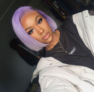 Pastel Purple Short Bob Lace Front Wig of Human Hair for Women