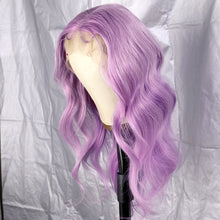Load image into Gallery viewer, Preferred Hair Light Purple/99J Dark Red Transparent human Lace Front Wig Prepluck Lace wig Body Wave Long Colorful Lace Wig for Women