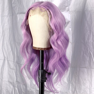 Preferred Hair Light Purple/99J Dark Red Transparent human Lace Front Wig Prepluck Lace wig Body Wave Long Colorful Lace Wig for Women