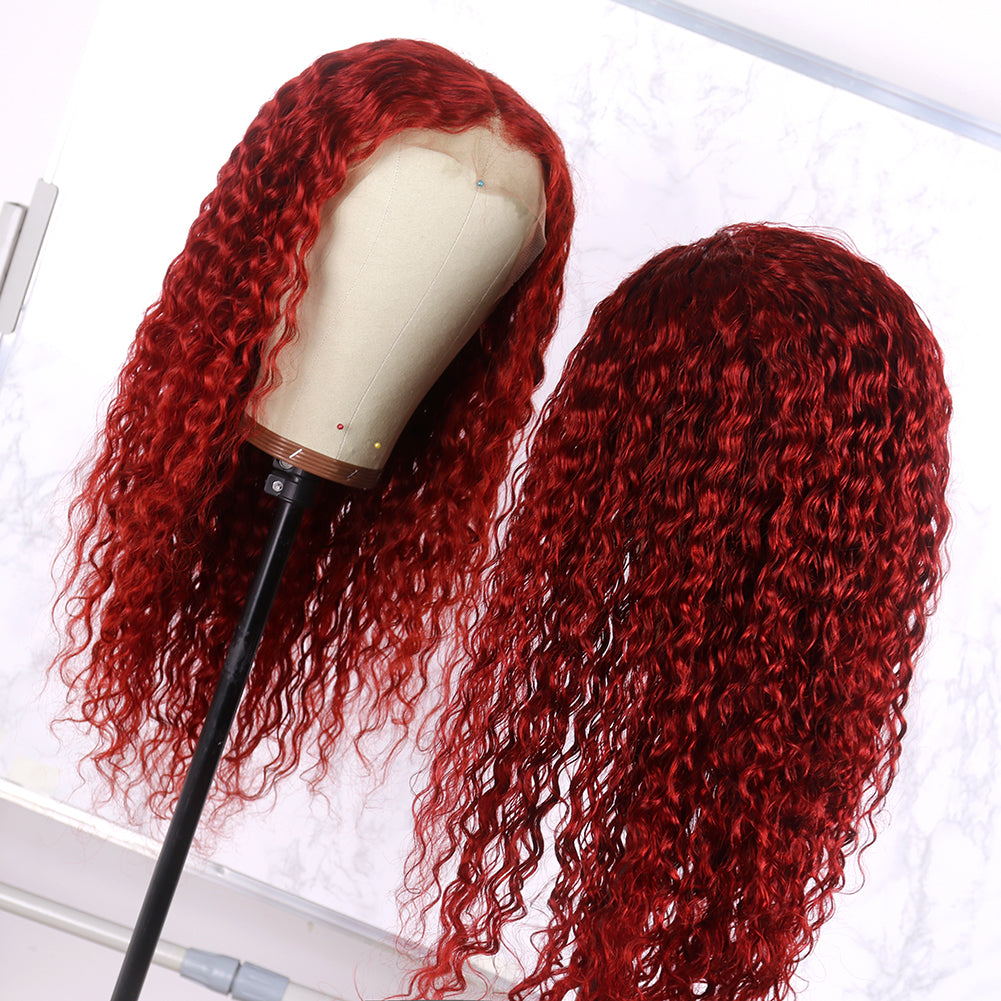 Preferred Wine Red Hair Wig Drag Queen Lace Front Wig Brazilian Deep Curly Hair Remy Human Hair Front Lace Wigs for Women