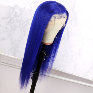 Preferred Human Straight Blue Brazilian Remy Hair Wig Lace Front Wigs for women