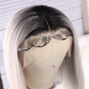 Preferred Hair Promotion Gray Short Bob Wig of Brazilian Human Hair with Baby Hair Ombre Black Roots Lace Front Wig for Women