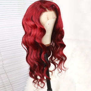 Dark Red Body Wave Human Hair Lace Front Wig for Women