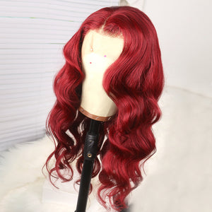 Preferred Hair Red Body Wave Human Hair Lace Front Wig for Women