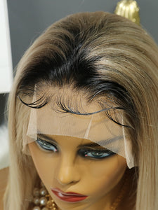 Golden Gray Human Hair Lace Front Bob Wig with Dark Roots