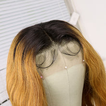 Load image into Gallery viewer, Preferred Hair Brown Long Wave Wig of Human Hair with Baby Hair Brazilian Ombre Lace Front Wig for Women