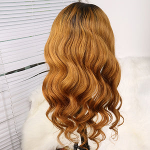 Preferred Hair Brown Long Wave Wig of Human Hair with Baby Hair Brazilian Ombre Lace Front Wig for Women