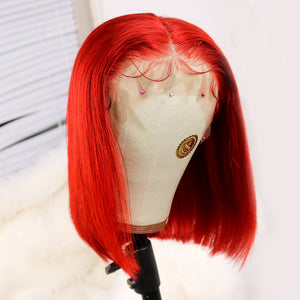 Preferred Hair Red Brazilian Human Hair Lace Wig Straight Short bob wigs for Women