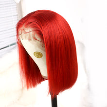 Load image into Gallery viewer, Preferred Hair Red Brazilian Human Hair Lace Wig Straight Short bob wigs for Women