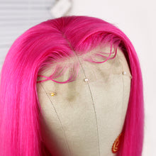 Load image into Gallery viewer, Brazilian Remy Human Hair Hot Pink Lace Wig with Pre-plucked Baby Hair