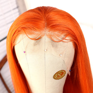 Preferred Hair Orange Long Straight Lace Front Wig for Women
