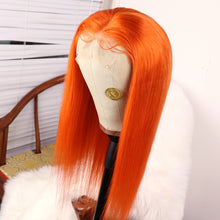 Load image into Gallery viewer, Preferred Hair Orange Long Straight Lace Front Wig for Women