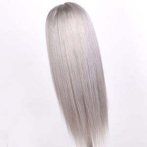 Preferred Hair Brazilian Gray Long Straight Wig of Human Hair with Baby Hair  Lace Front Wig for Women