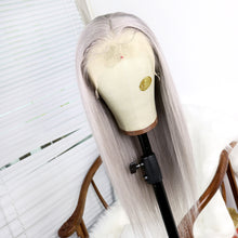 Load image into Gallery viewer, Preferred Hair Brazilian Gray Long Straight Wig of Human Hair with Baby Hair  Lace Front Wig for Women