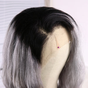 Preferred Hair Gray Ombre Long Body Wave Wig of Human Hair with Baby Hair Brazilian Lace Front Wig for Women