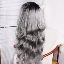 Load image into Gallery viewer, Preferred Hair Gray Ombre Long Body Wave Wig of Human Hair with Baby Hair Brazilian Lace Front Wig for Women