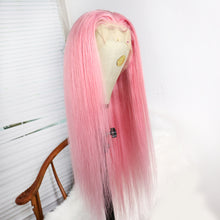 Load image into Gallery viewer, Preferred Human Hair Princess Pink Lace Front Wigs Long Straight Hair for Women