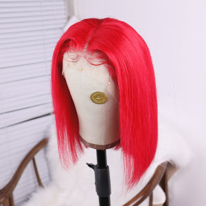 Red Full Lace Short Bob Wig Vivid Remy Human Hair for Women