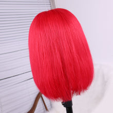 Load image into Gallery viewer, Red Full Lace Short Bob Wig Vivid Remy Human Hair for Women