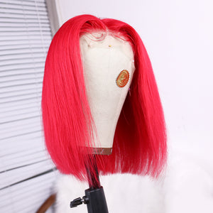 Preferred Hair Vivid Red Human Lace Wig Straight Short Bob Wigs for Women