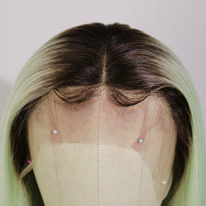 Light Green Human Hair Lace Front Wig with Dark Roots